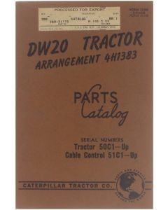 DW20 tractor arrangement 4H1383 serial numbers tractor 50C1-Up, cable control 51C1-Up [Paperback] - [1955]